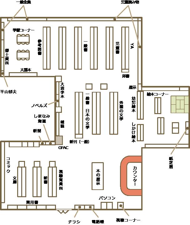 瀬戸田図書館の館内案内図